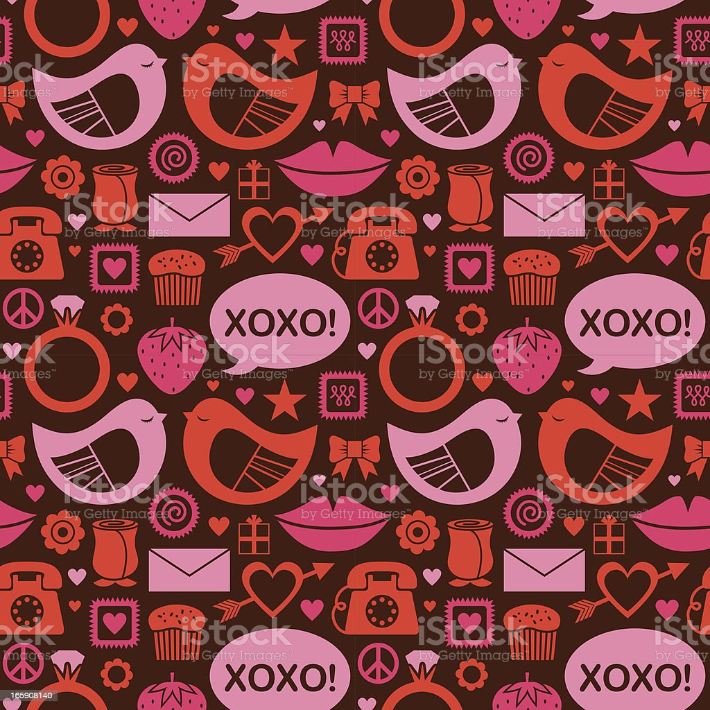Red and pink patterned love icons vector art illustration