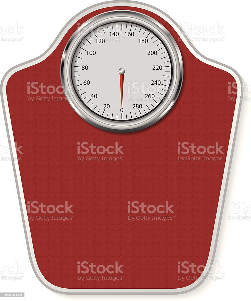 Red and silver analog weight scale vector art illustration