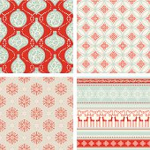 Red and turquoise seamless Christmas pattern