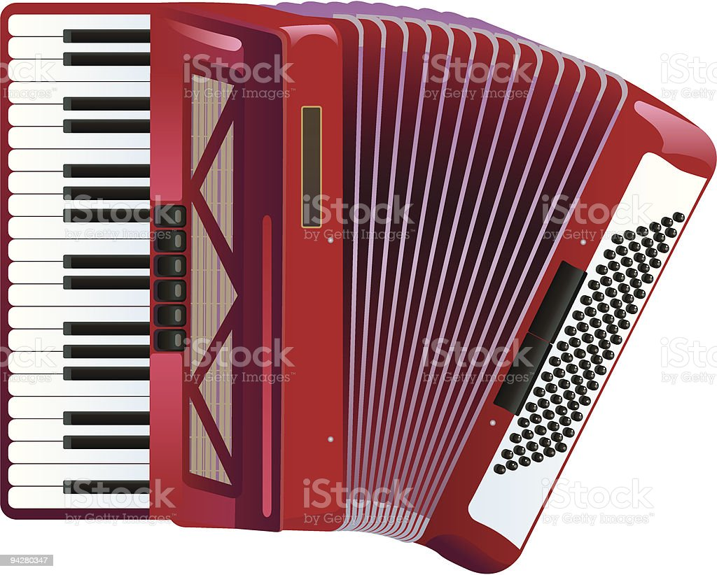 Red and white accordion against white background royalty-free stock vector art