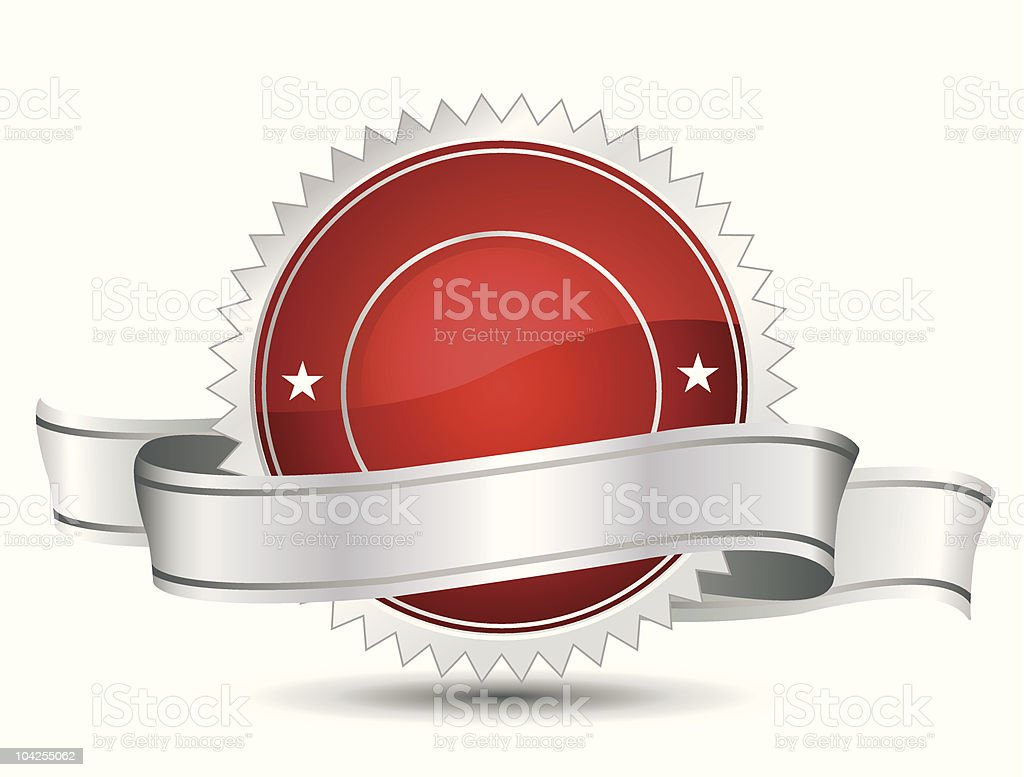 Red and white award banner vector vector art illustration