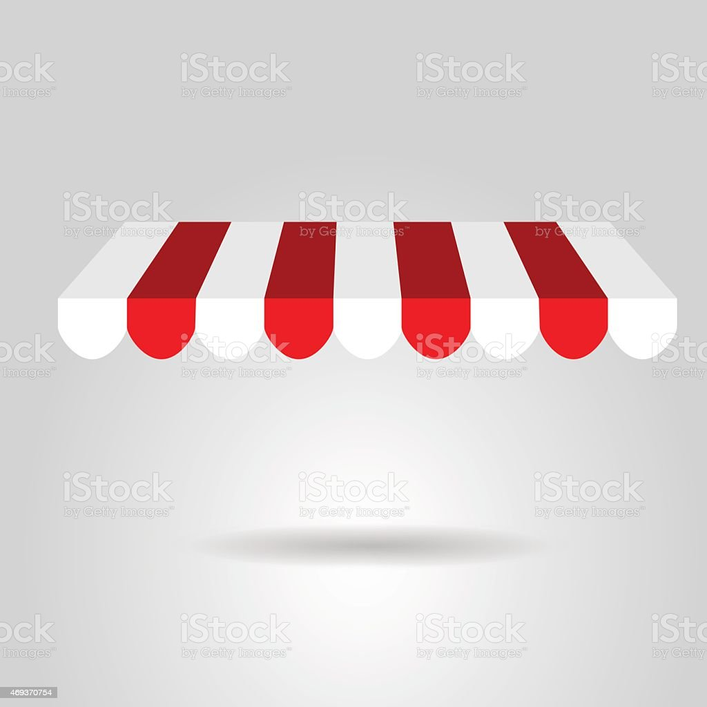 Red and white awning graphic floating on white vector art illustration