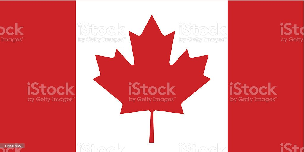 Red and white Canadian flag flat vector illustration vector art illustration