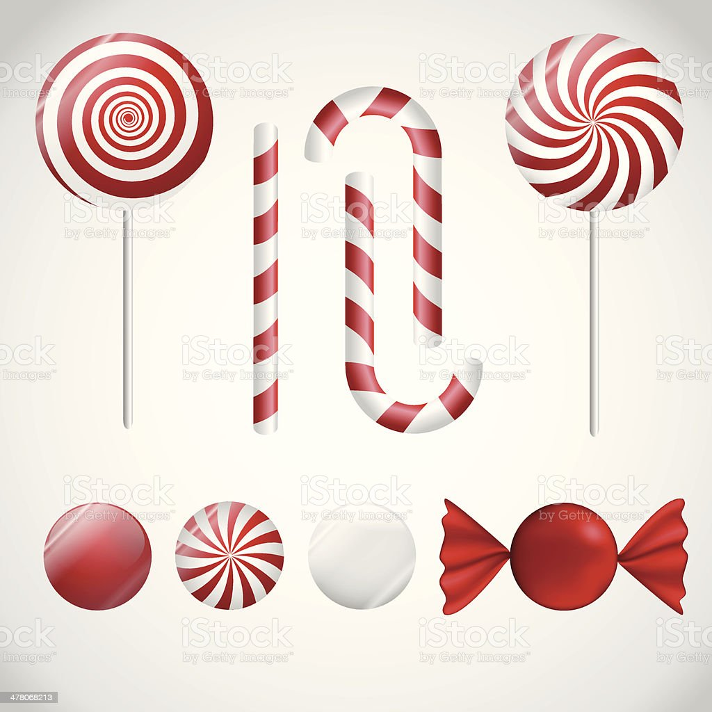 Red and white candy. vector art illustration