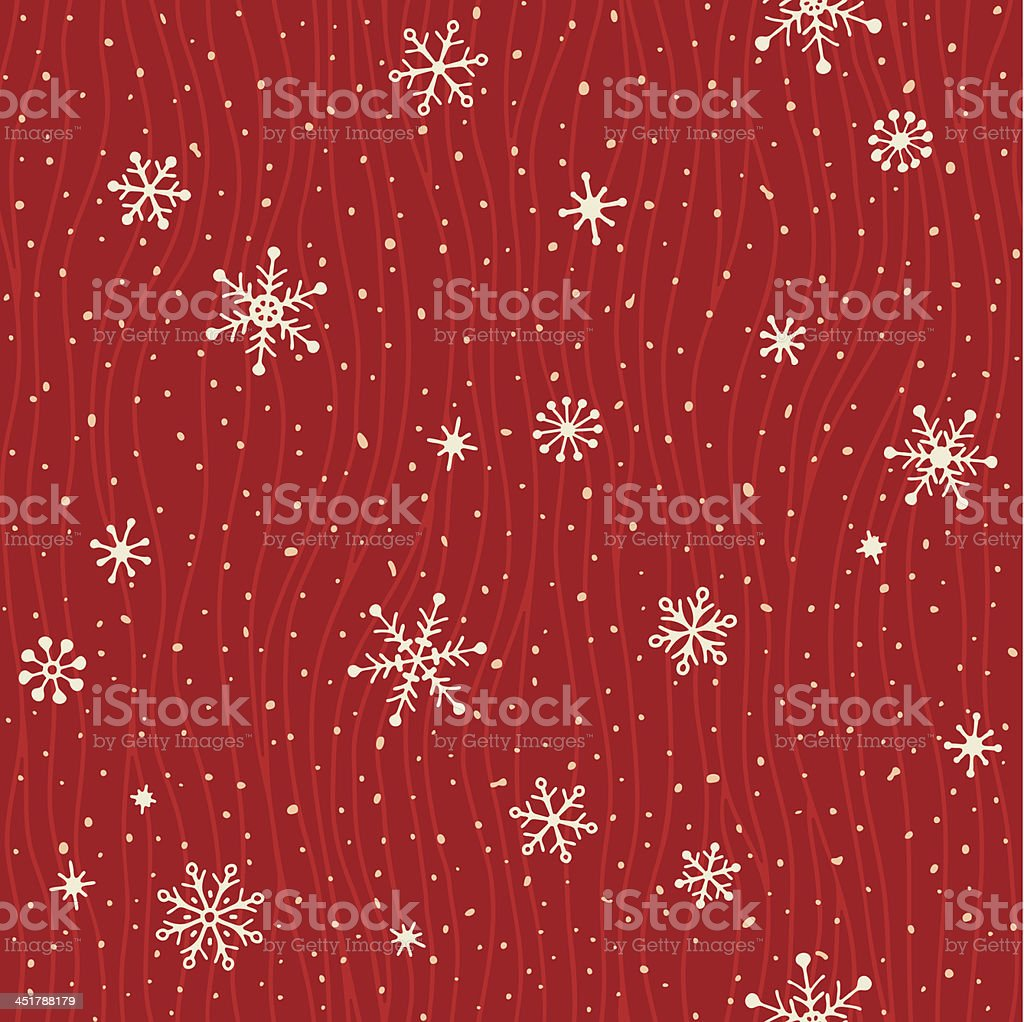 A red and white card with seamless snowflake pattern  vector art illustration