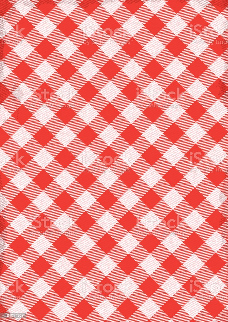 Red and white Checked tablecloth background with texture royalty-free stock vector art