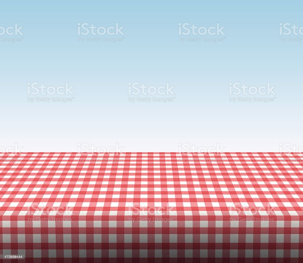 Red and white checkered tablecloth under faded blue sky vector art illustration