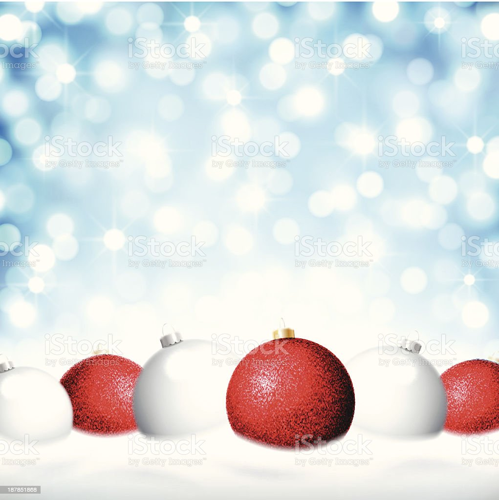 Red and white Christmas baubles royalty-free stock vector art