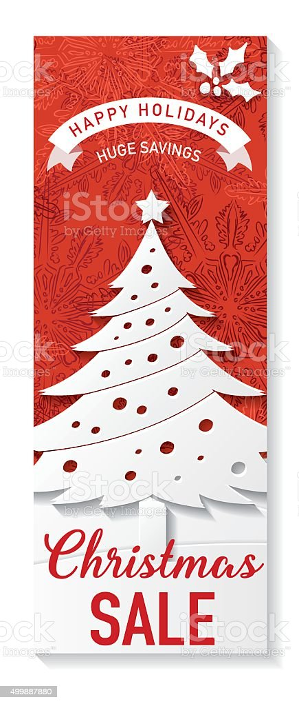 Red And White Christmas Sale Tag Template Stock Vector Art