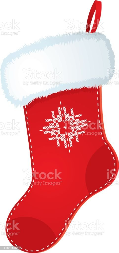 A red and white Christmas stocking graphic royalty-free stock vector art