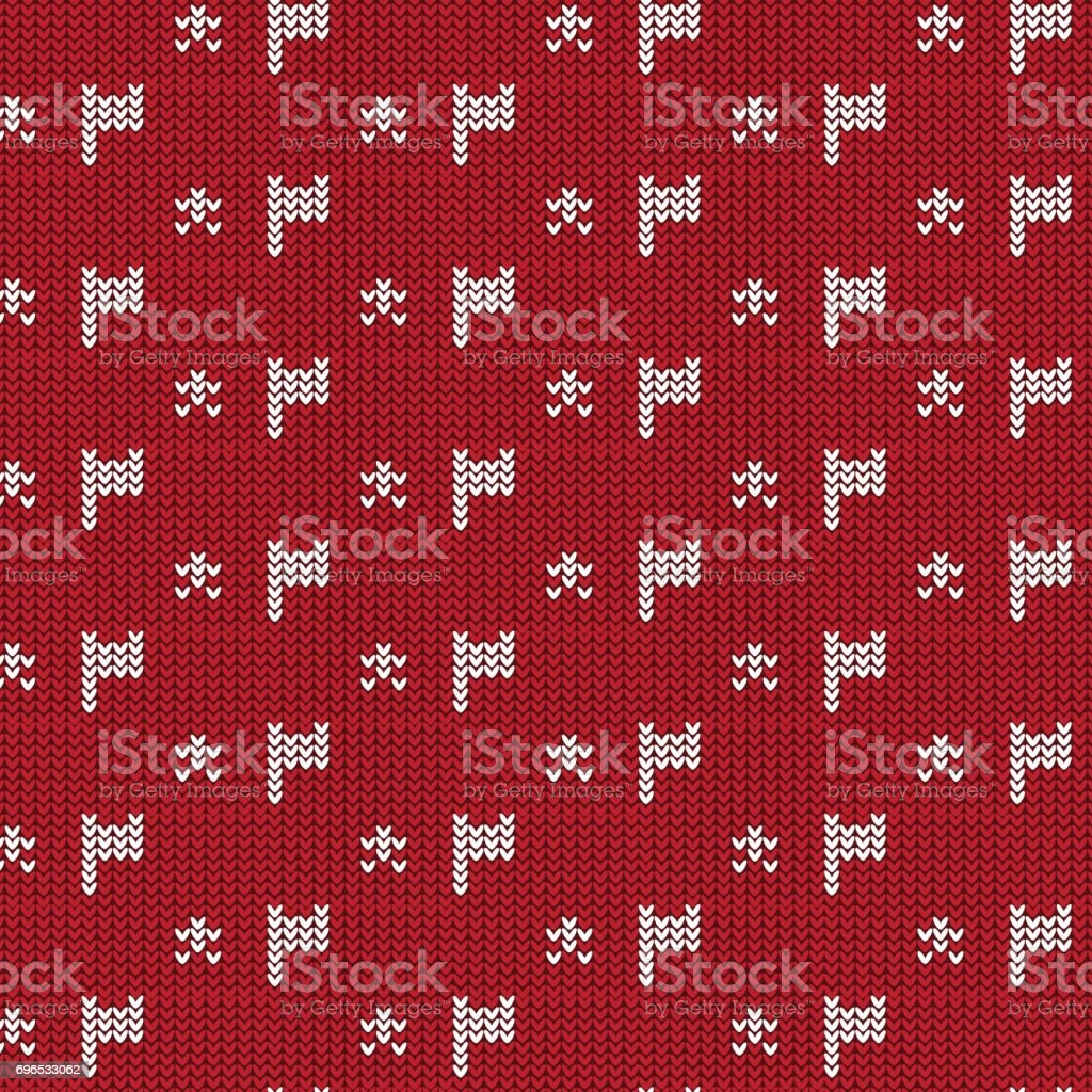red and white flag with star knitting pattern background vector art illustration