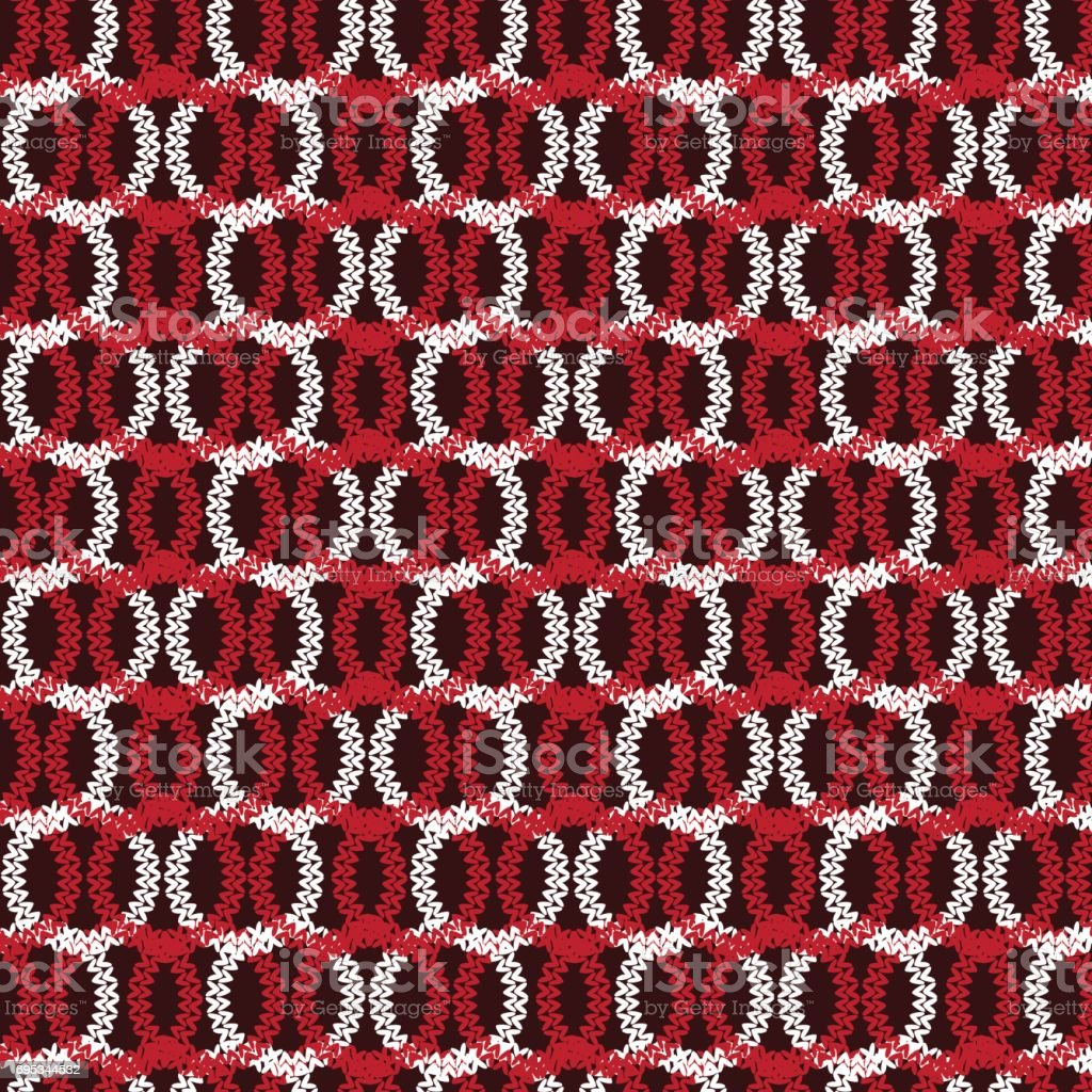 red and white horizontal circle overlapped knitting pattern background vector art illustration