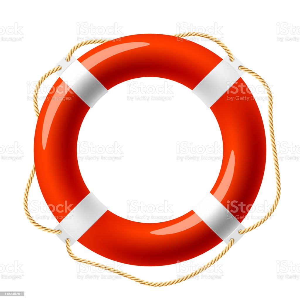 Red and white life buoy on a white background royalty-free stock vector art