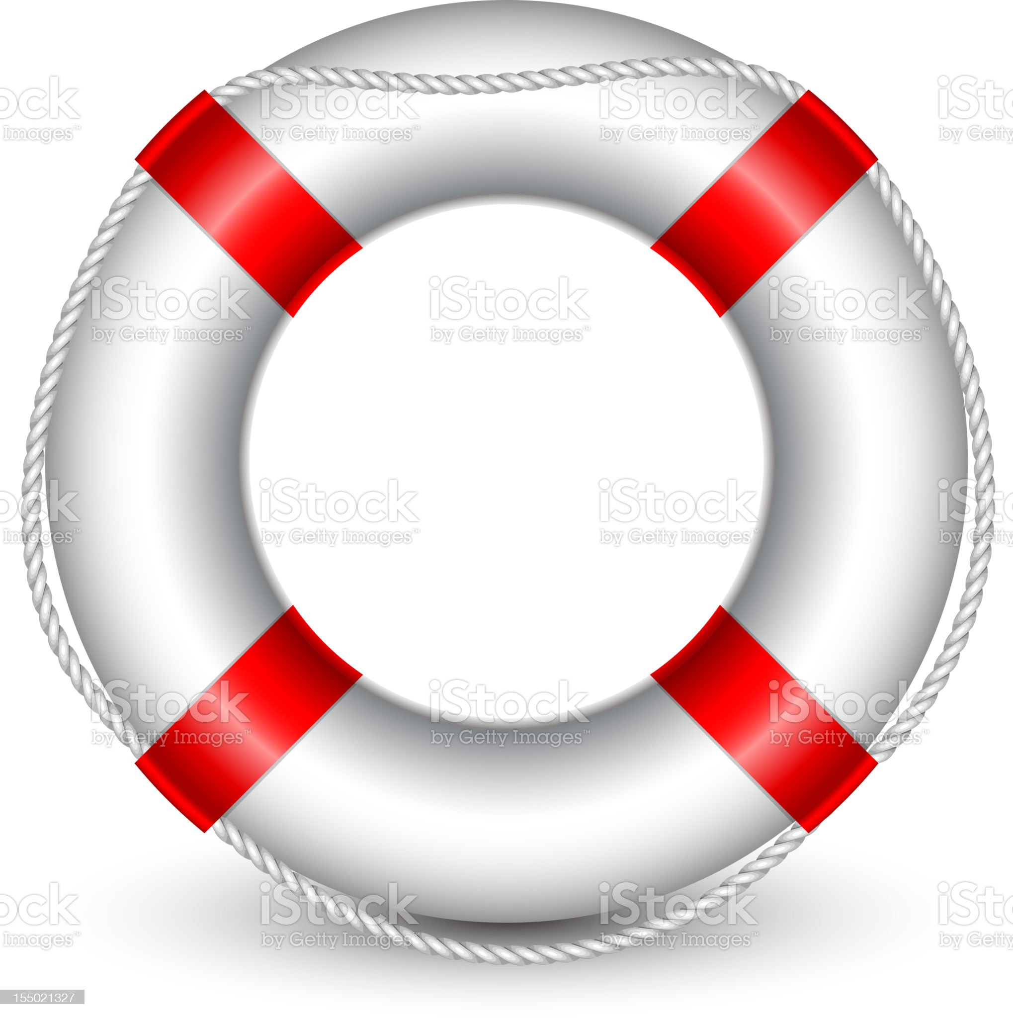 A red and white life buoy on a white background royalty-free stock vector art