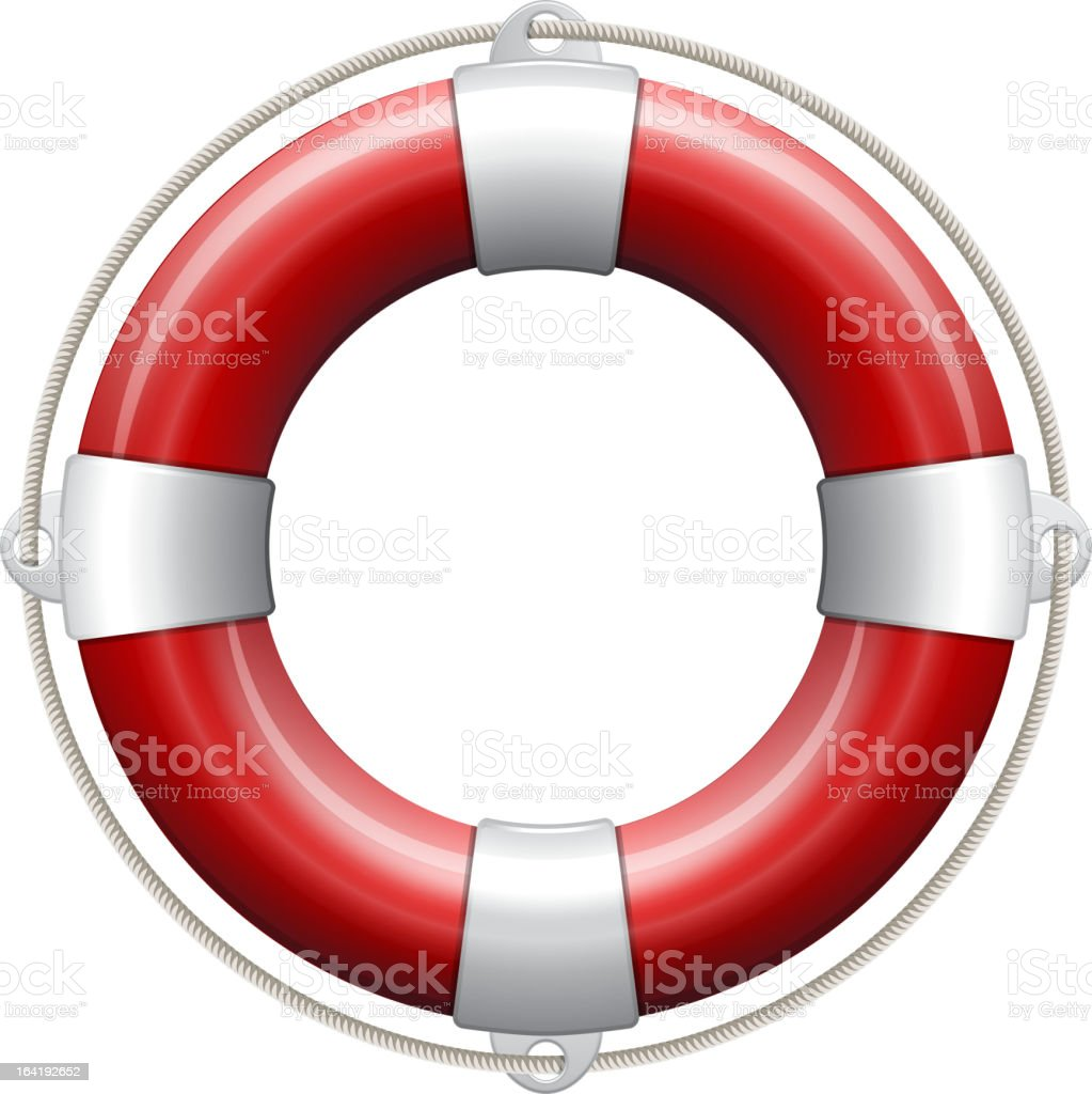 Red and white life buoy on white background royalty-free stock vector art