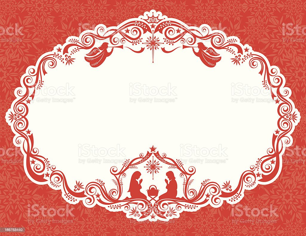 A red and white nativity Christmas card royalty-free stock vector art