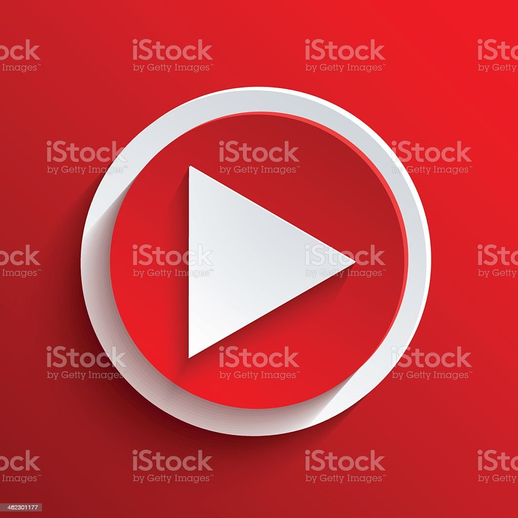 A red and white play button on a red background vector art illustration