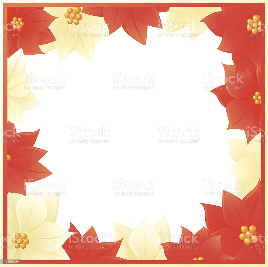red and white poinsettia floral frame royalty-free stock vector art