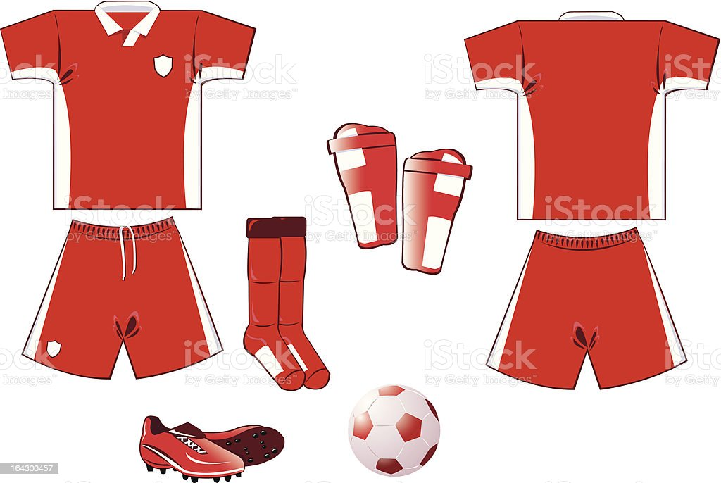 red and white soccer equipment royalty-free stock vector art