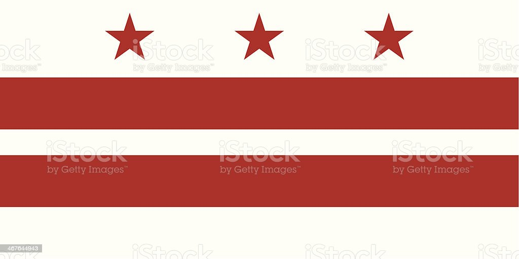 A red and white starred flag representing Washington DC vector art illustration