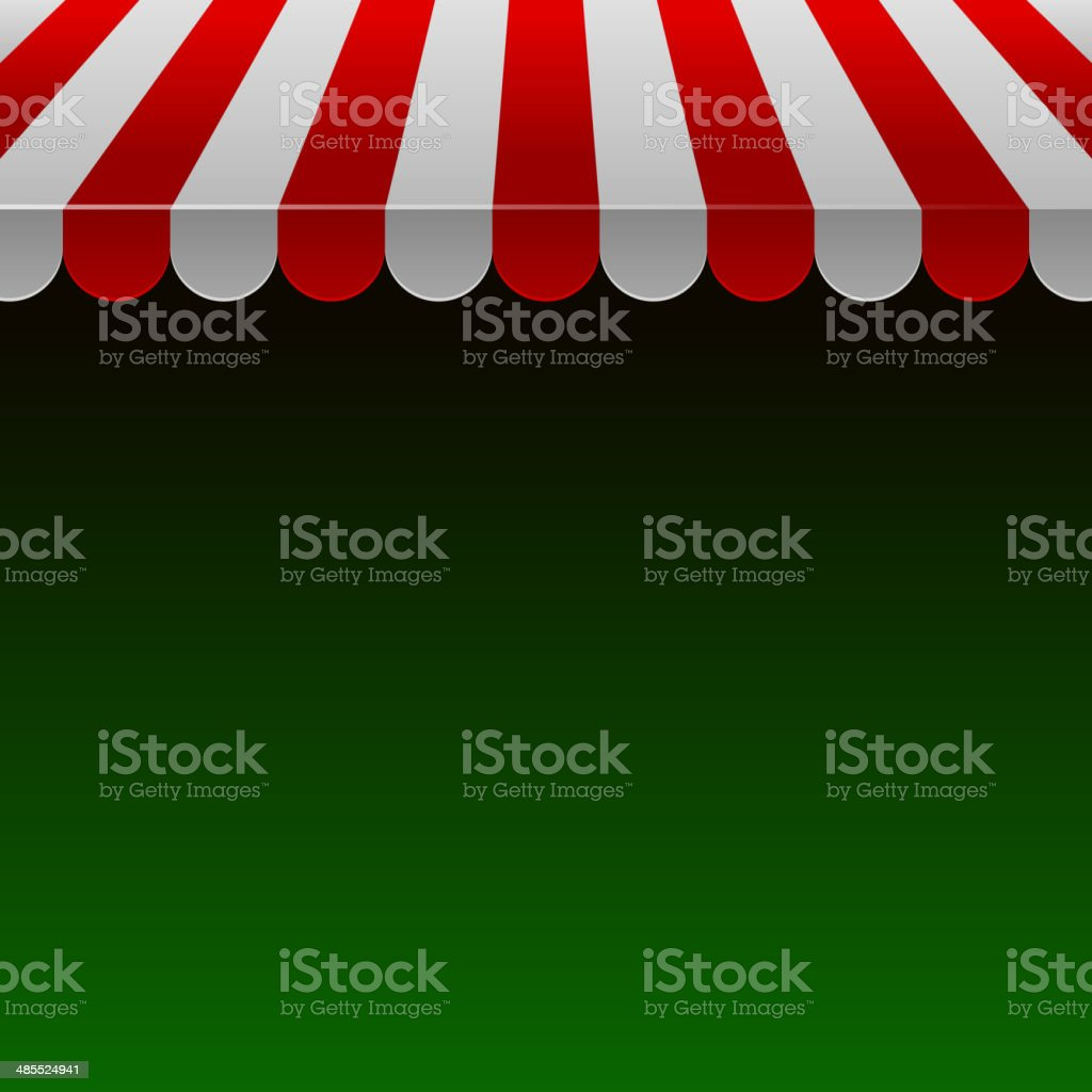 Red and White Strip Shop Awning with Space for Text.Vector royalty-free stock vector art