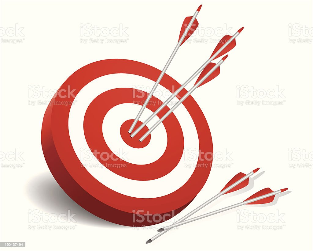 A red and white target with three arrows in the bullseye royalty-free stock vector art