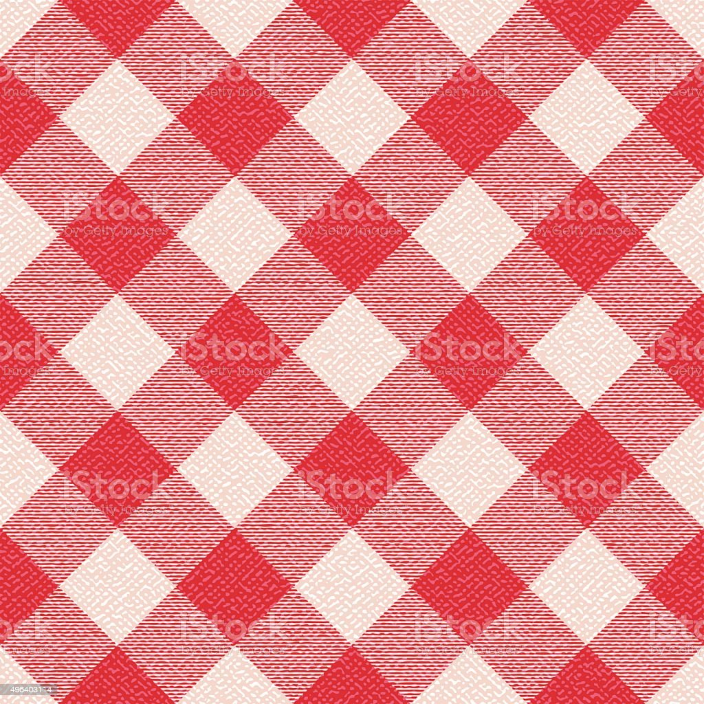 Red and white textured diagonal gingham pattern background 3 vector art illustration
