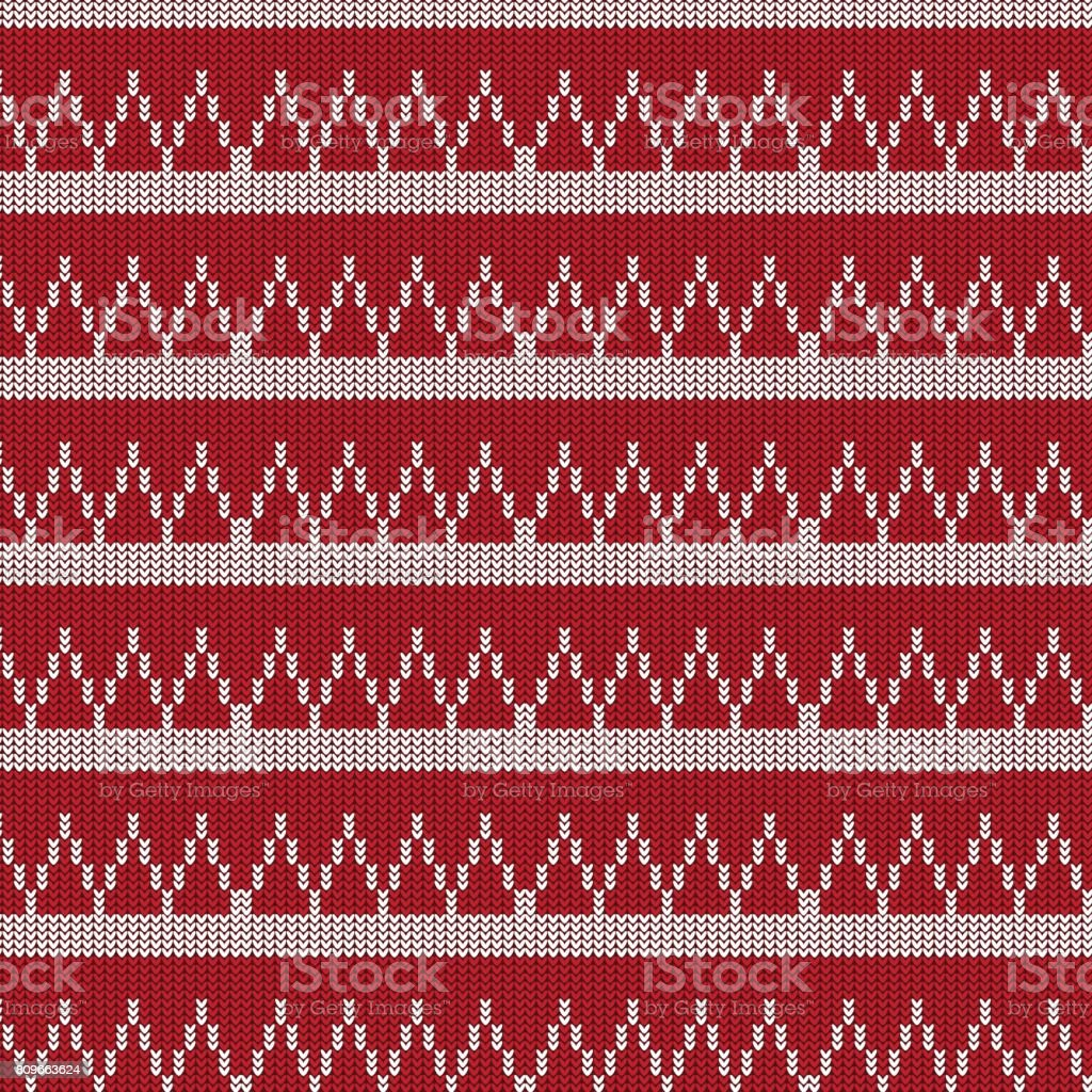 red and white triangle and white striped knitting pattern background vector art illustration