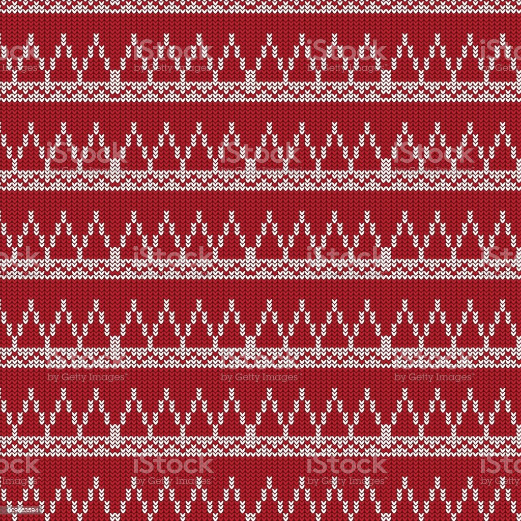 red and white triangle and white striped with chevron line knitting pattern background vector art illustration