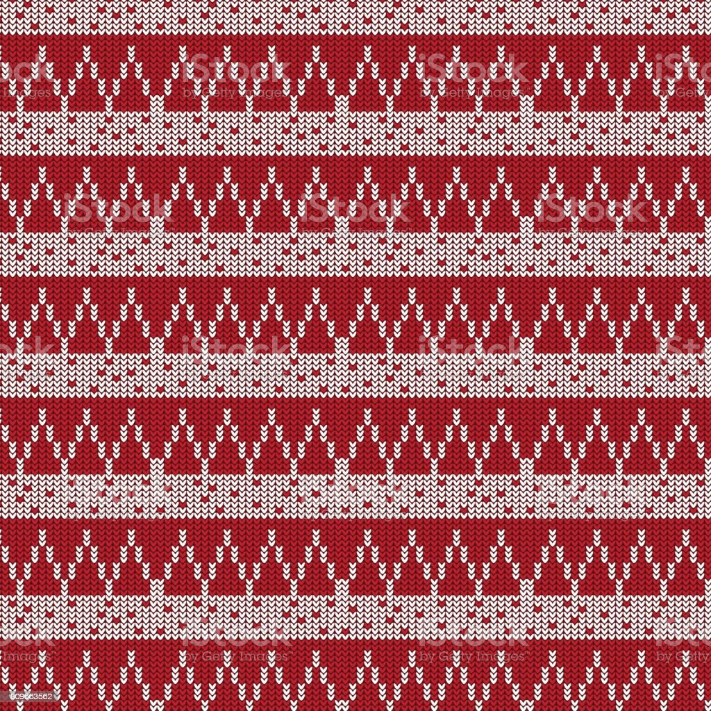 red and white triangle and white striped with dot knitting pattern background vector art illustration