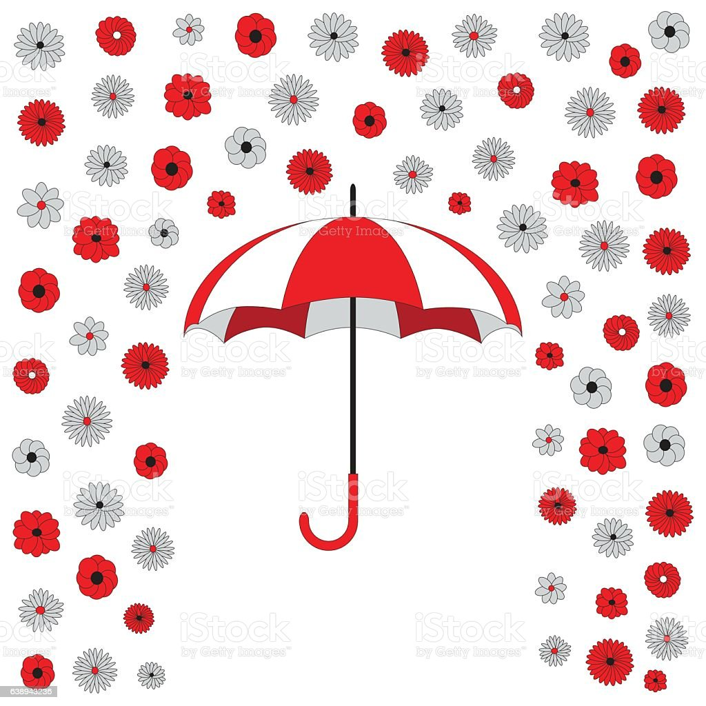 Red and white umbrella with falling flowers rain vector art illustration