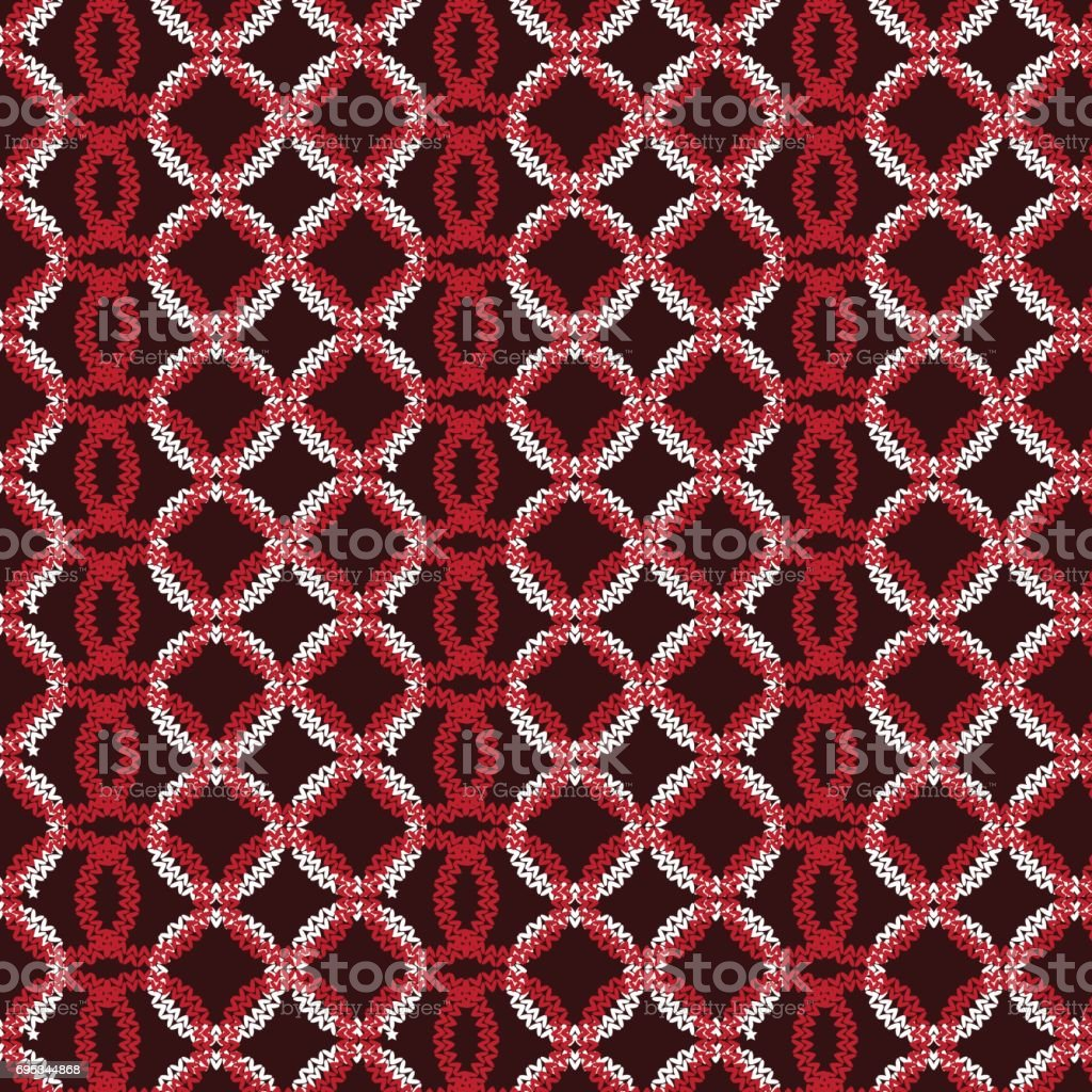 red and white vertical circle overlapped knitting pattern background vector art illustration