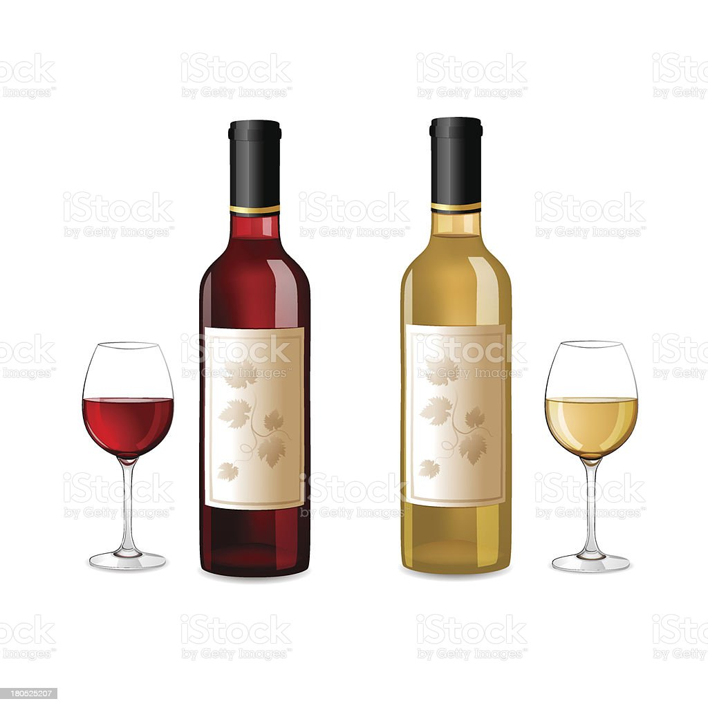 Red and white wine bottles royalty-free stock vector art