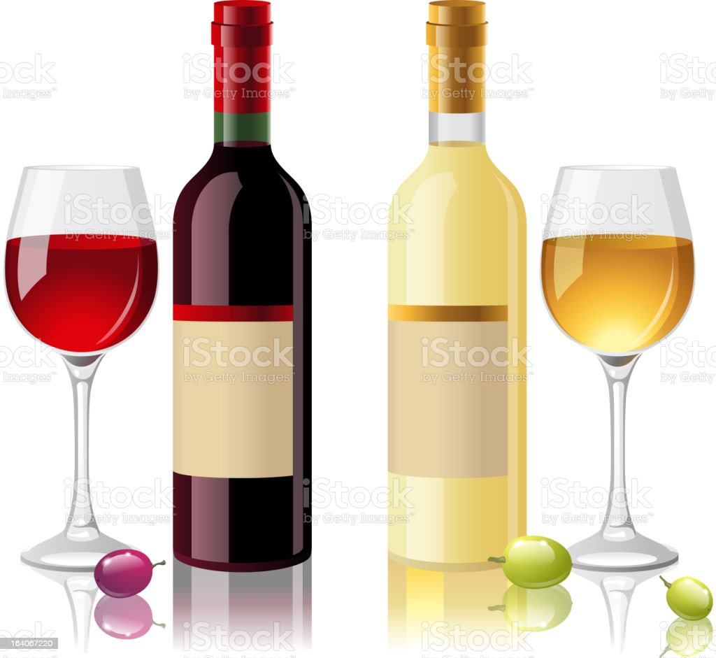 red and white wine royalty-free stock vector art