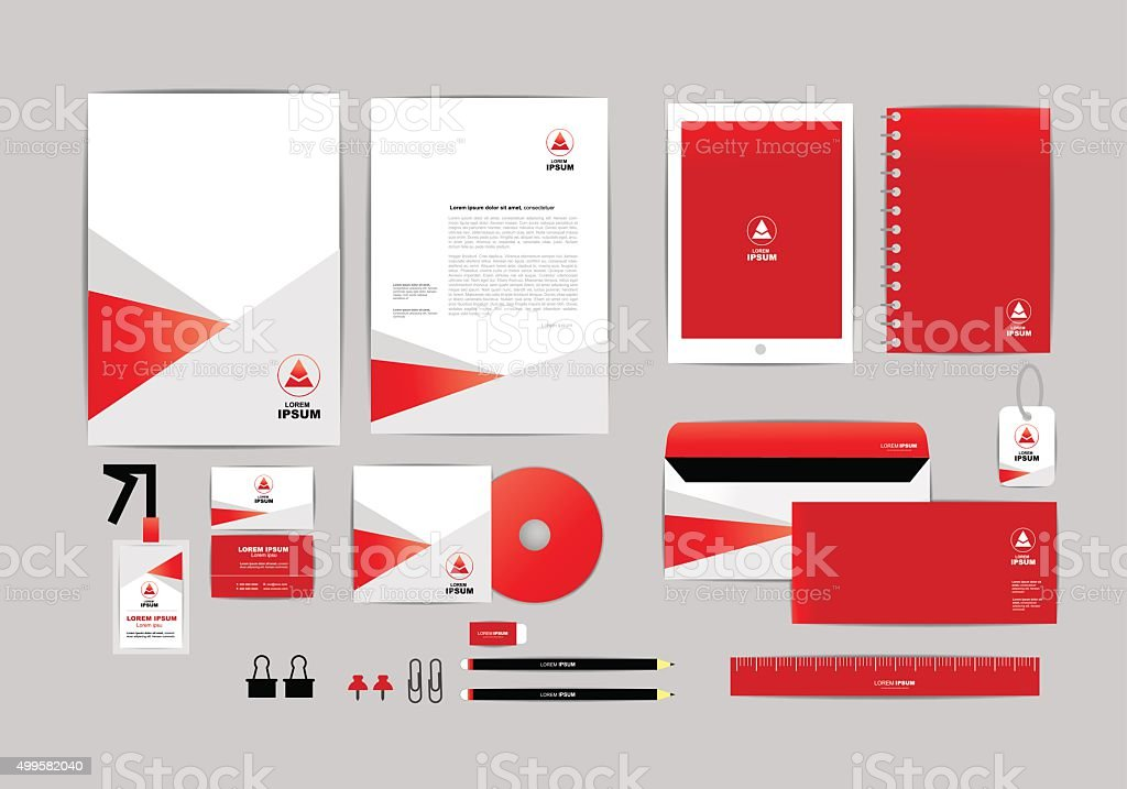 red and white with triangle corporate identity template b stock