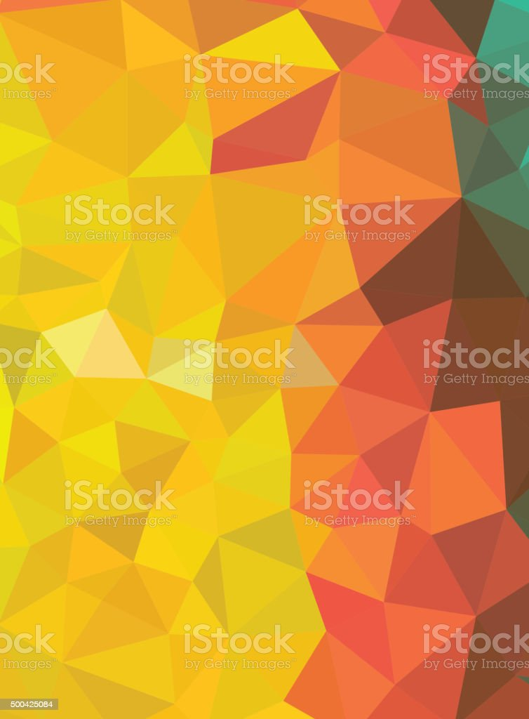 Red and yellow abstract geometric background consisting  triangl vector art illustration