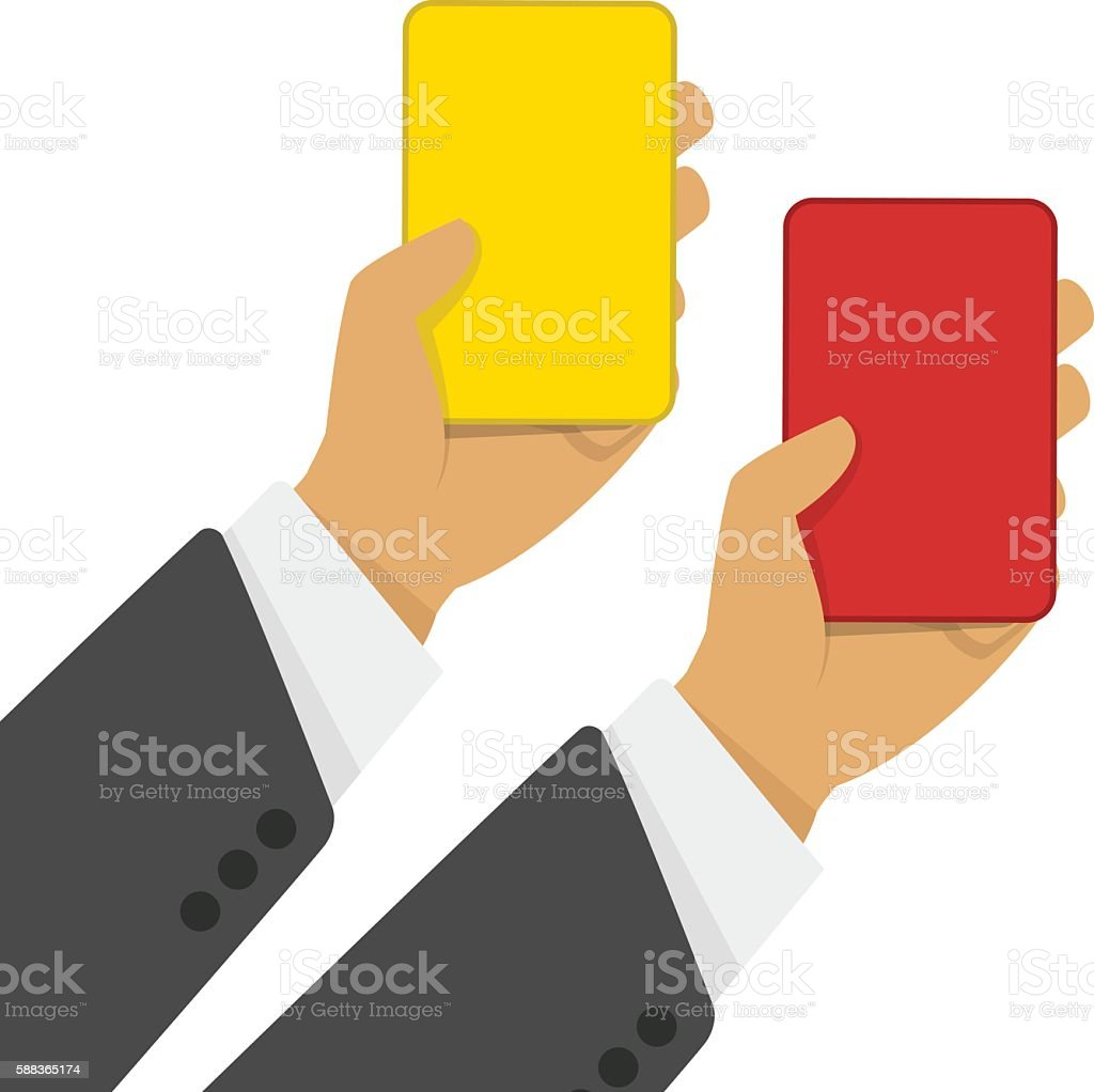 Red and yellow cards in hand vector art illustration