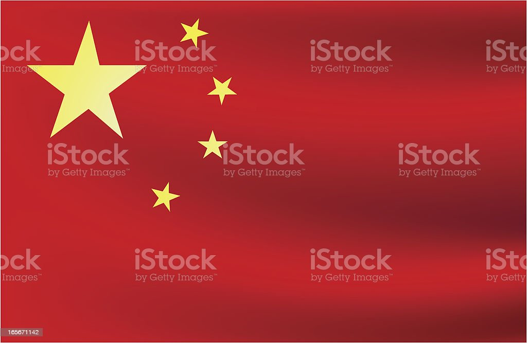 Red and yellow Chinese flag with a wave vector art illustration