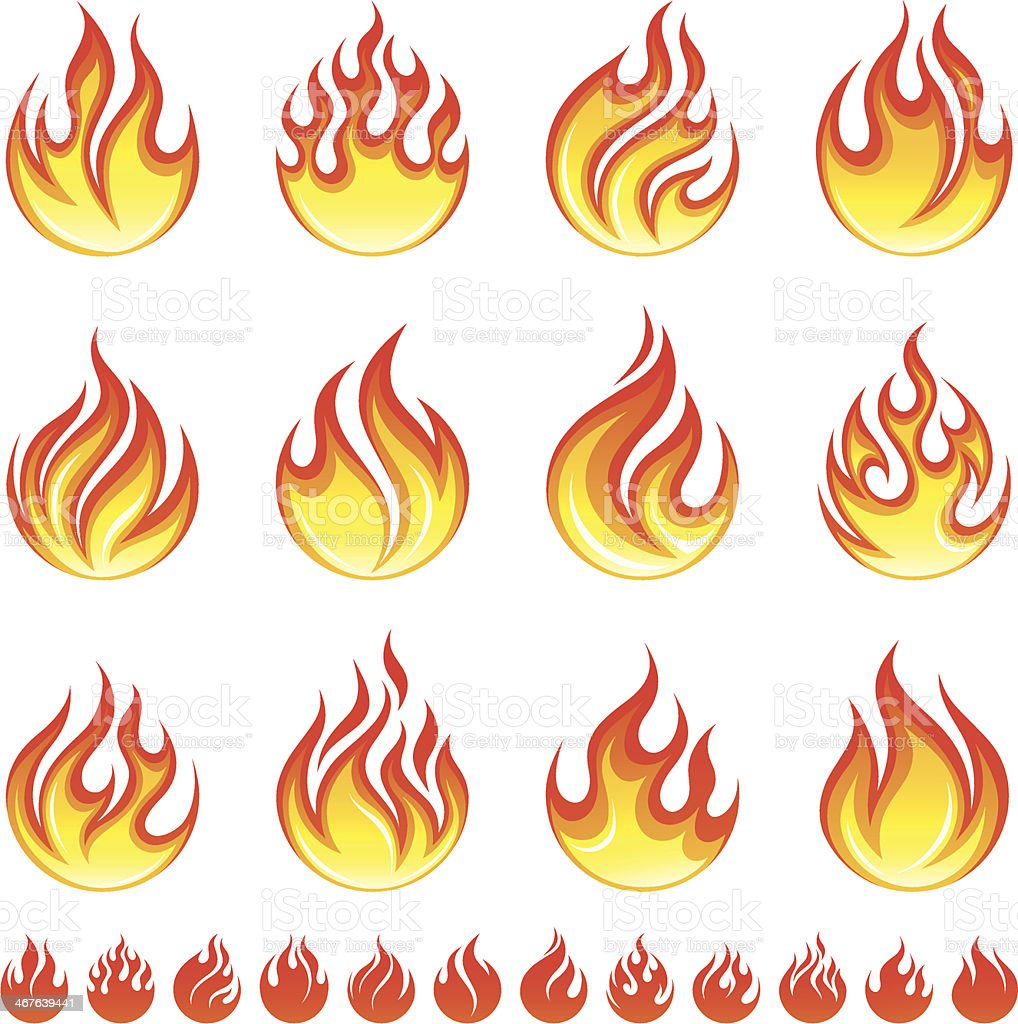 Red and yellow fire flame designs royalty-free stock vector art