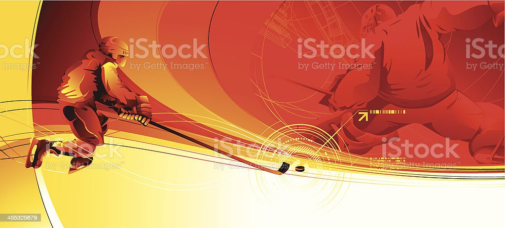 Red and yellow hockey player themed tv intro still royalty-free stock vector art