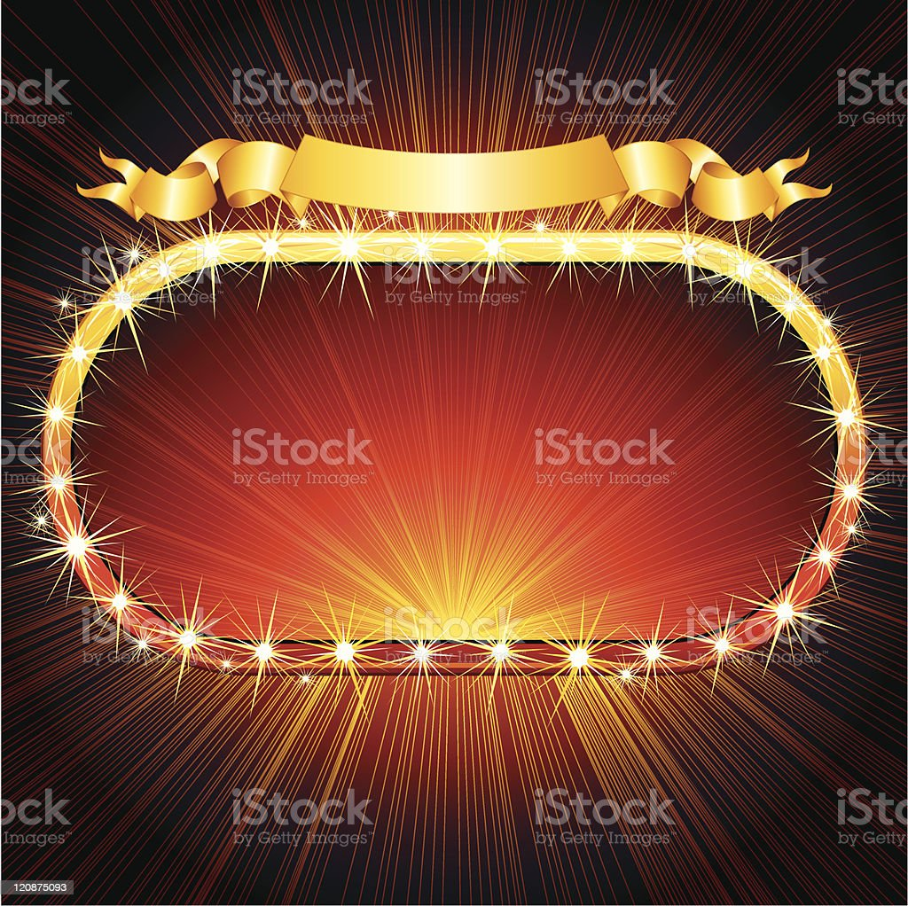 Red and yellow marquee sign with lights around it royalty-free stock vector art
