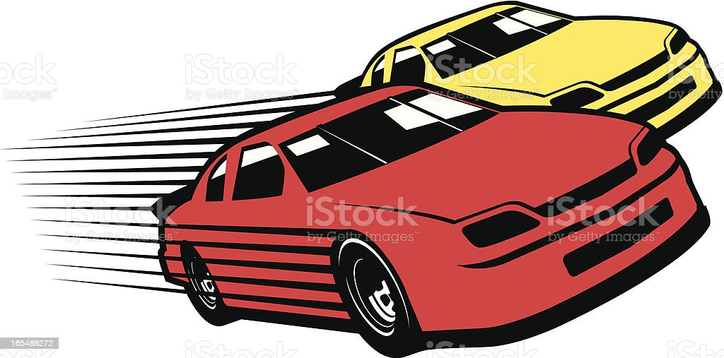 Red and yellow race cars cartoon vector art illustration