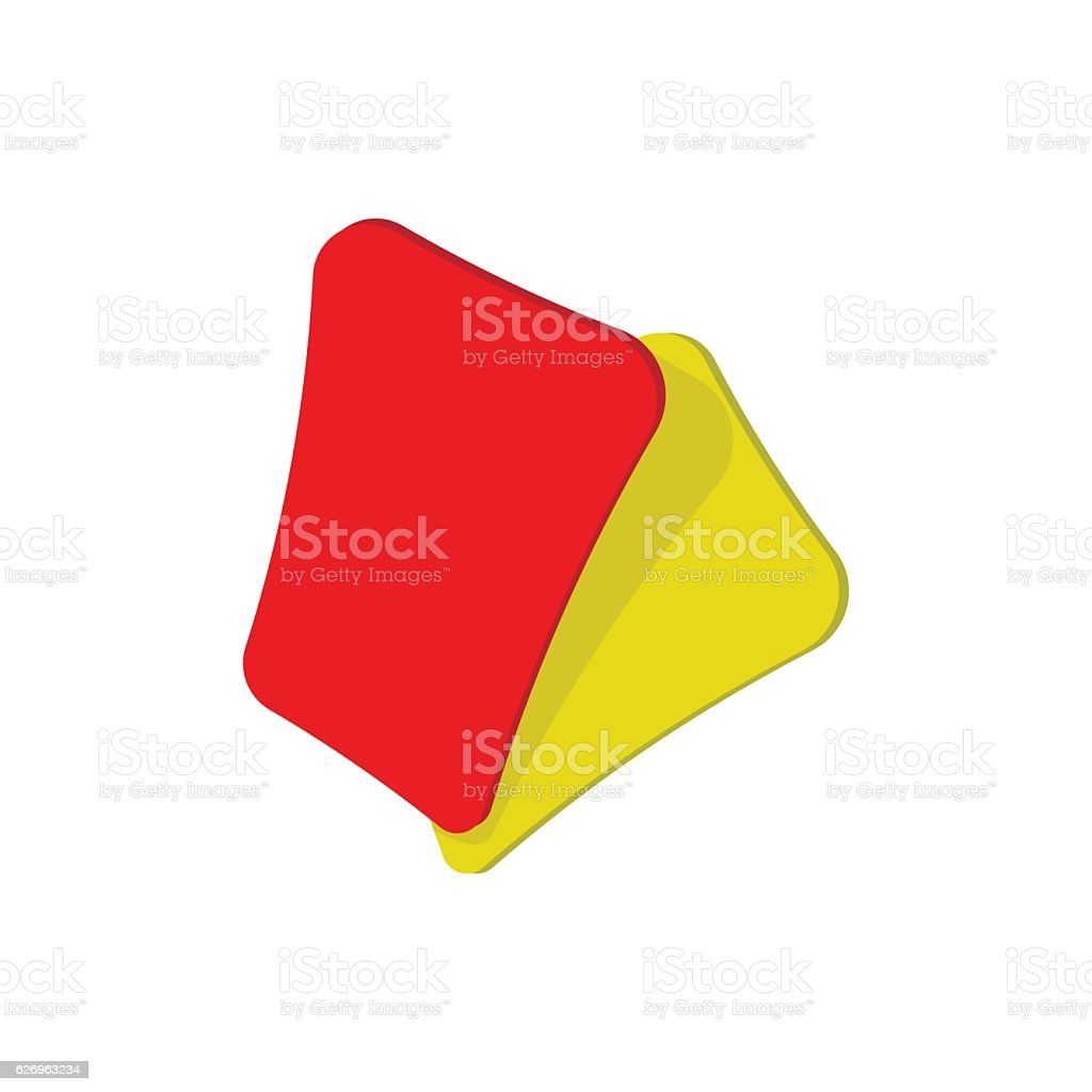 Red and yellow soccer card cartoon icon vector art illustration