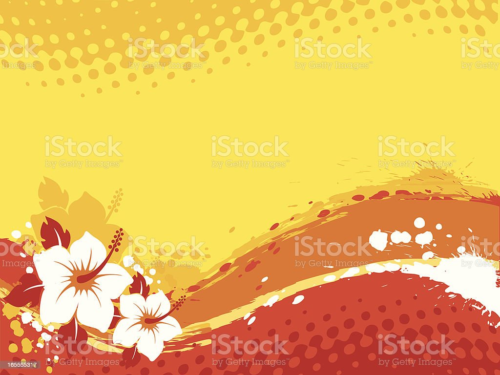 A red and yellow wave background with tropical flowers royalty-free stock vector art