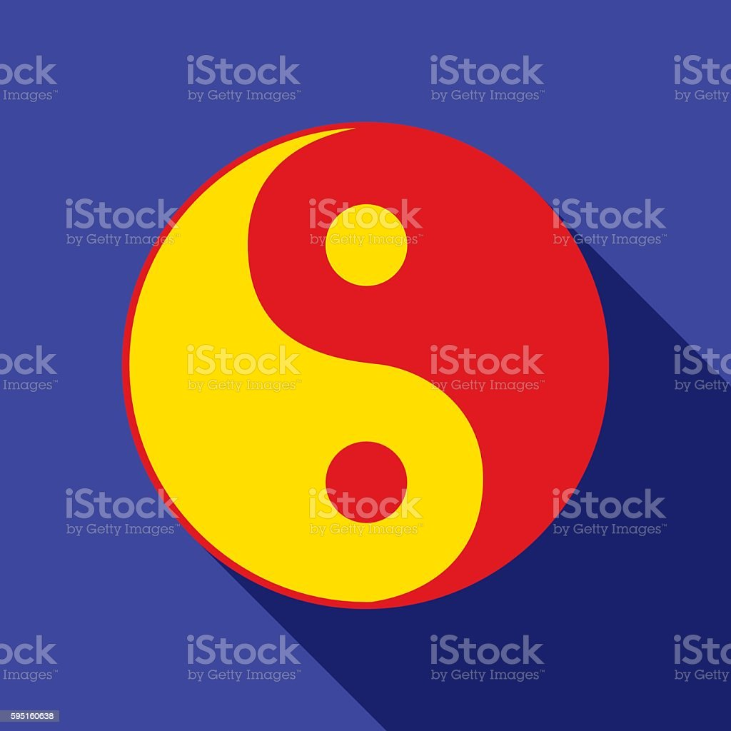 Red And Yellow Yin Yang Icon vector art illustration