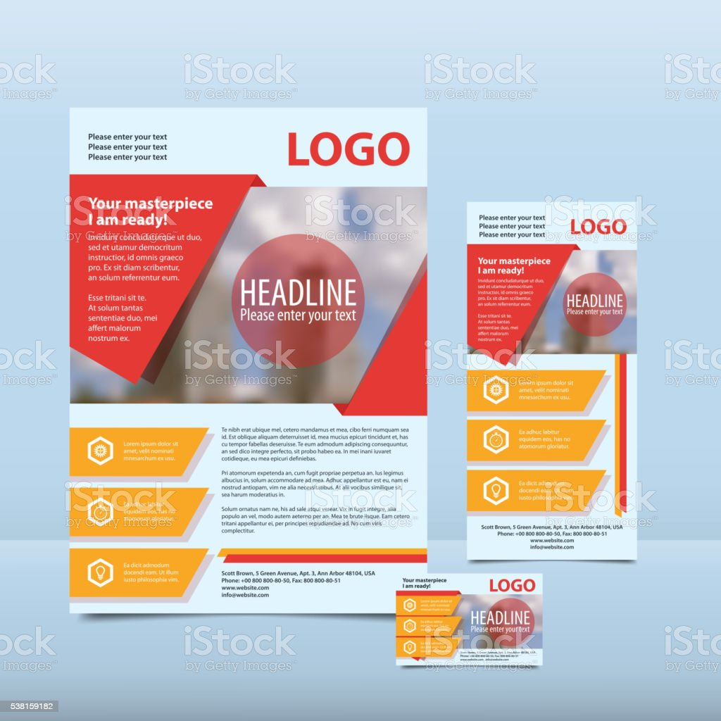 Red annual report with the pattern brochure flyer business card vector art illustration