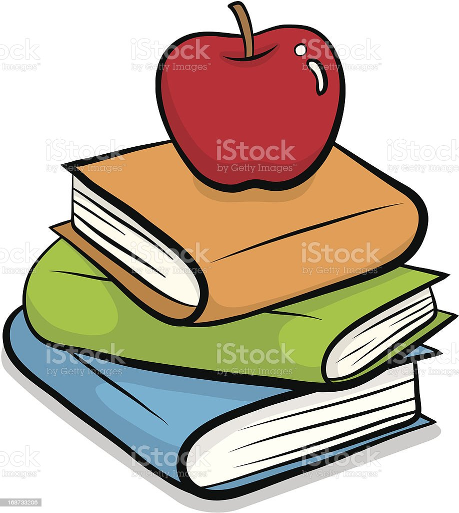 Red apple and pile of books royalty-free stock vector art
