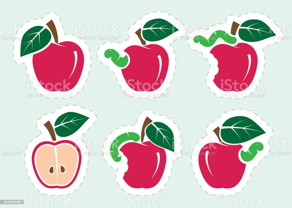 red apple and worm. set of color icons vector art illustration