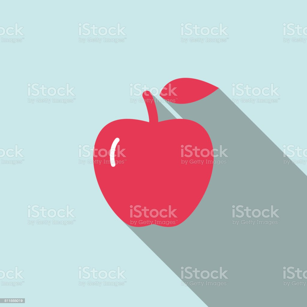 Red apple, food and drink flat icon series, vector art illustration