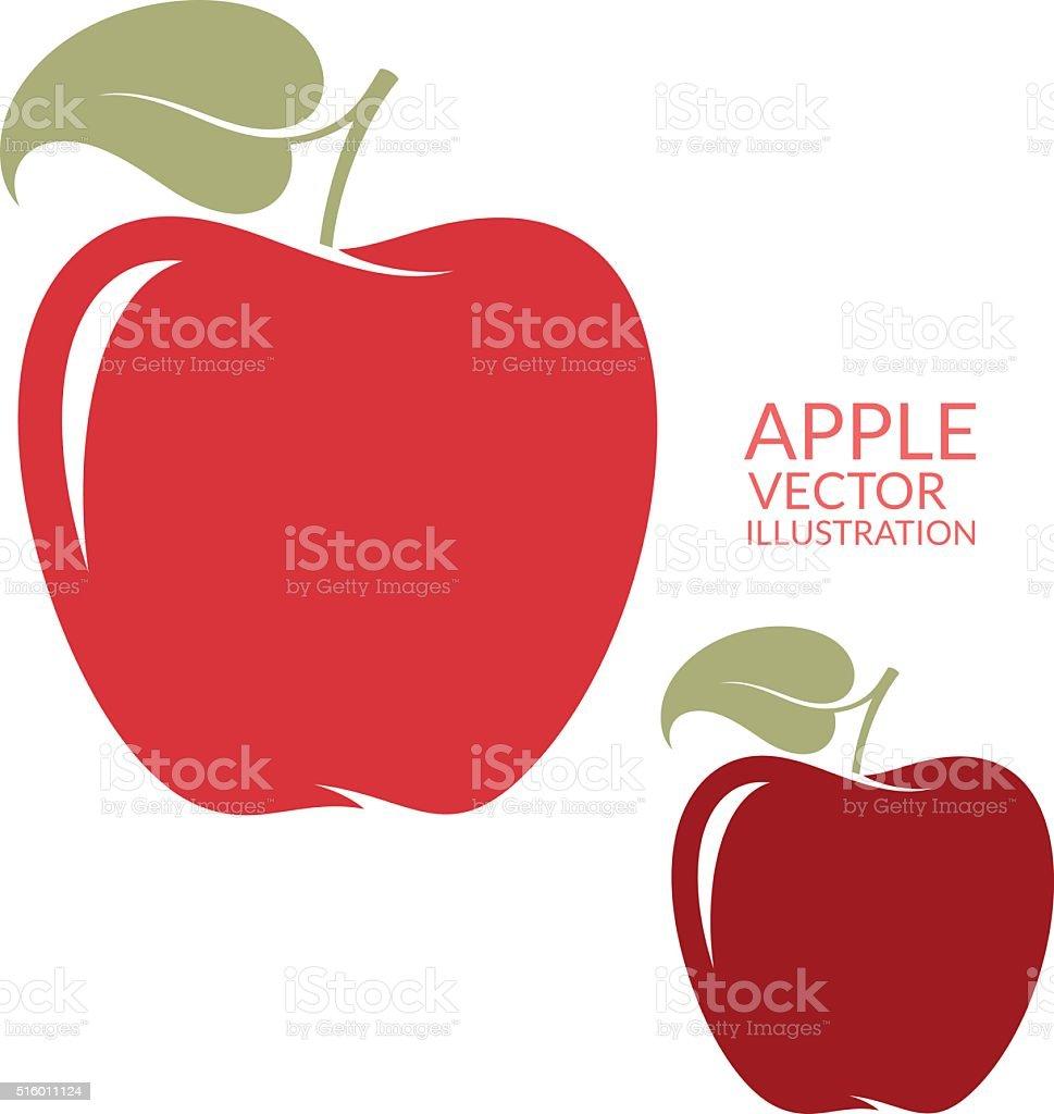 Red  apple. Isolated fruit on white background vector art illustration